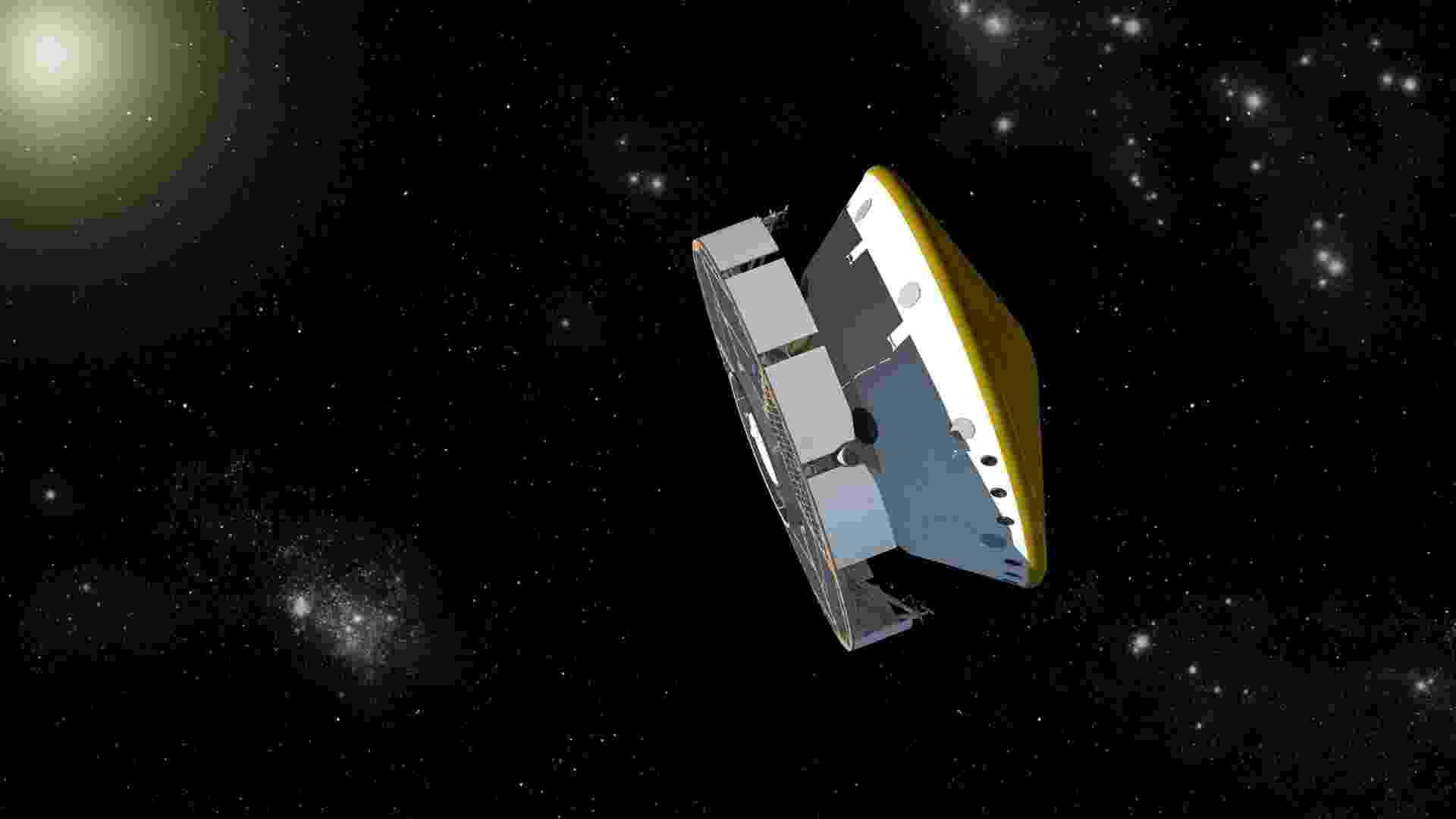 30.mai.2013 - A radiação a que um astronauta é exposto durante uma viagem a Marte aumentaria o risco de câncer fatal entre 3% a 5%, calcula a Nasa (Agência Espacial Norte-America), após analisar dados obtidos por um instrumento a bordo da MSL (ilustração acima). A cápsula transportou o robô Curiosity durante seu voo da Terra até Marte, entre novembro de 2011 e agosto de 2012. Dois tipos de radiação ameaçam os astronautas em viagens espaciais: os raios cósmicos galácticos (como explosões de supernovas) e as partículas que emanam do Sol - Nasa/JPL-Caltech
