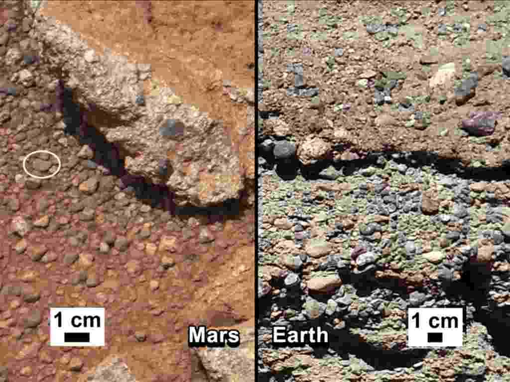 31.mai.2013 - O Curiosity encontrou novos indícios de que Marte já abrigou água em sua superfície antes de se tornar um planeta árido. O robô fotografou durante os primeiros 40 dias da missão mais de 500 pedras do planeta vermelho (à esquerda) que são similares aos seixos encontrados nos leitos de rios da Terra (à direita). Segundo a Nasa (Agência Espacial Norte-Americana), a superfície redonda e lisa dos pedregulhos foi formada como se tivesse viajado longas distâncias pelo leito de um antigo rio - Nasa/JPL-Caltech/MSSS and PSI