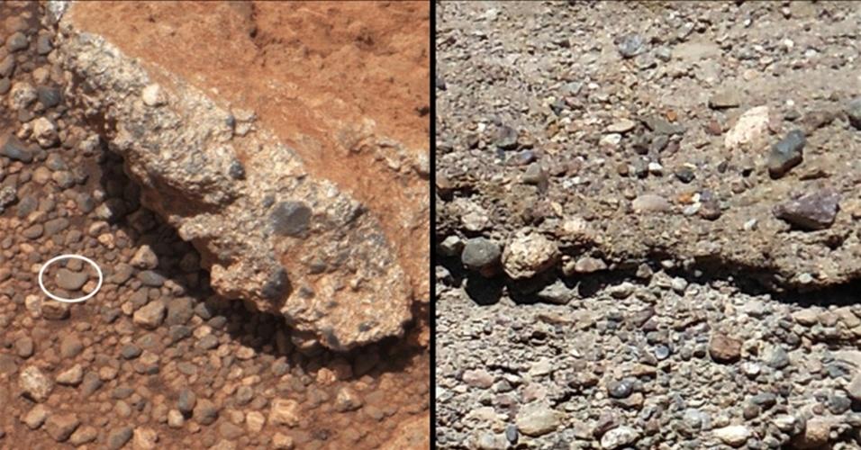 31.mai.2013 - O Curiosity encontrou novos indícios de que Marte já abrigou água em sua superfície antes de se tornar um planeta árido. O robô fotografou durante os primeiros 40 dias da missão mais de 500 pedras do planeta vermelho (à esquerda) que são similares aos seixos encontrados nos leitos de rios da Terra (à direita). Segundo a Nasa (Agência Espacial Norte-Americana), a superfície redonda e lisa dos pedregulhos foi formada como se tivesse viajado longas distâncias pelo leito de um antigo rio