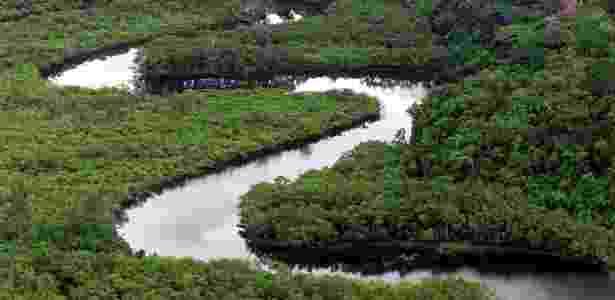 Reserva ambiental da Jureia, em Peruíbe, no litoral sul de São Paulo, que ainda detém parte da Mata Atlântica nativa do estado - Juca Varella/Folhapress