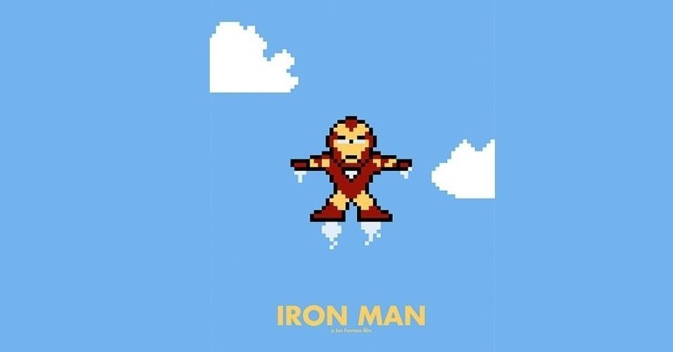 Na imagem, a comédia 'Homem de Ferro'. O designer gráfico Eric Palmer, de Denver, Estados Unidos, cria banners em 8-bits inspirados em filmes famosos