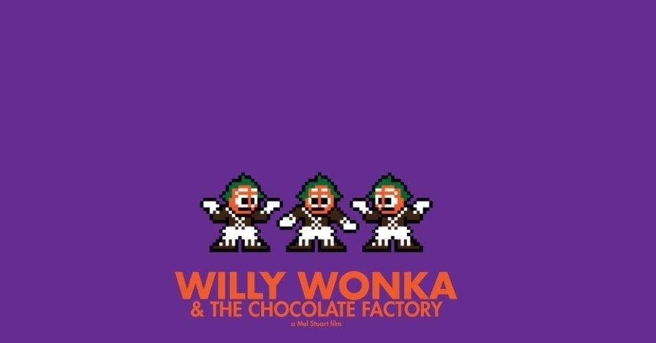 Na imagem, o filme 'A Fantástica Fábrica de Chocolate'. O designer gráfico Eric Palmer, de Denver, Estados Unidos, cria banners em 8-bits inspirados em filmes famosos