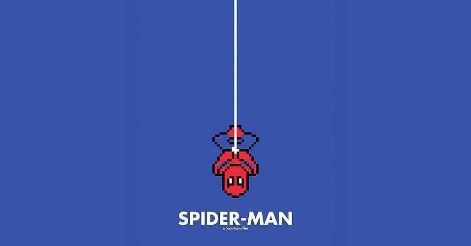 Na imagem, o filme 'Homem-Aranha'. O designer gráfico Eric Palmer, de Denver, Estados Unidos, cria banners em 8-bits inspirados em filmes famosos