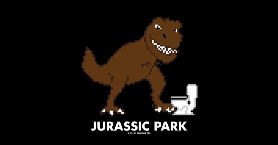 Na imagem, o filme 'Jurassic Park'. O designer gráfico Eric Palmer, de Denver, Estados Unidos, cria banners em 8-bits inspirados em filmes famosos