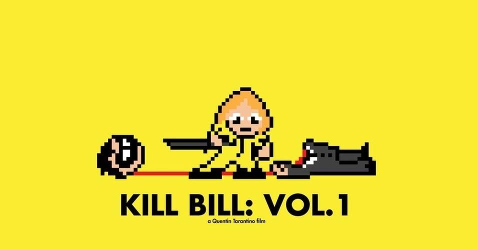 Na imagem, o filme 'Kill Bill: Vol. 1'. O designer gráfico Eric Palmer, de Denver, Estados Unidos, cria banners em 8-bits inspirados em filmes famosos