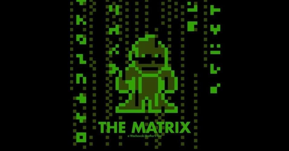 Na imagem, o filme 'Matrix'. O designer gráfico Eric Palmer, de Denver, Estados Unidos, cria banners em 8-bits inspirados em filmes famosos