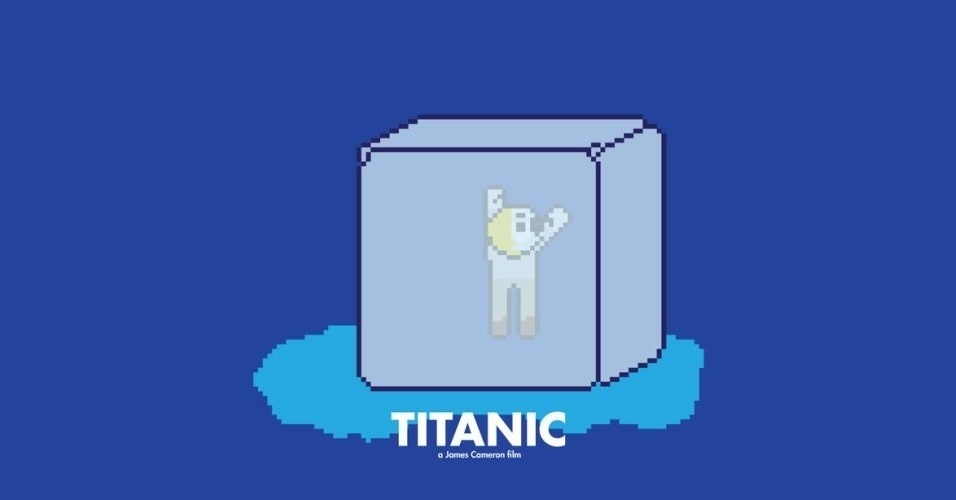 Na imagem, o filme 'Titanic'. O designer gráfico Eric Palmer, de Denver, Estados Unidos, cria banners em 8-bits inspirados em filmes famosos