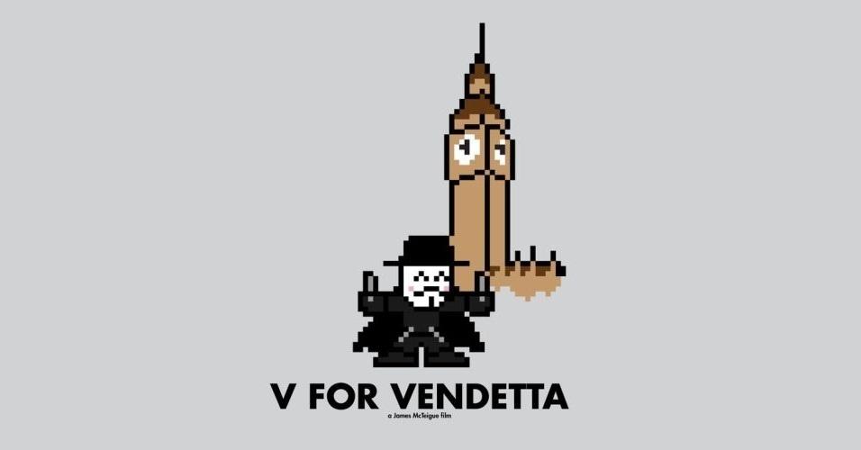 Na imagem, o filme 'V de Vingança'. O designer gráfico Eric Palmer, de Denver, Estados Unidos, cria banners em 8-bits inspirados em filmes famosos