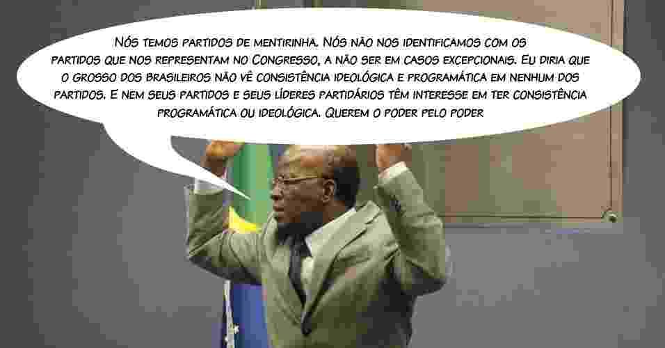 """20.mai.2013 - O presidente do STF (Supremo Tribunal Federal), ministro Joaquim Barbosa, criticou os partidos políticos no Brasil, dizendo que eles são de """"mentirinha"""" e só """"querem o poder pelo poder"""", durante palestra no IESB (Instituto de Educação Superior de Brasília) - Agência CNJ/Arte UOL"""