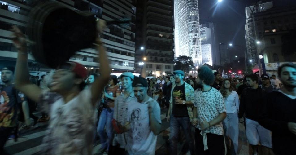 8.jun.2013 - Manifestantes se reúnem em São Paulo neste sábado (8) para mais uma Marcha da Maconha