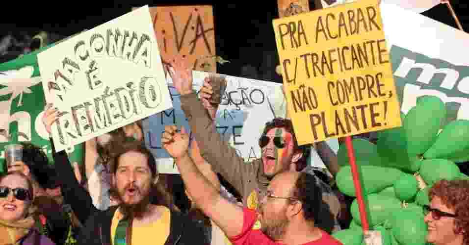 8.jun.2013 - Manifestantes se reúnem na avenida Paulista na tarde deste sábado (8) para mais uma Marcha da Maconha na capital paulista. O principal alvo desta edição do protesto é um projeto de lei aprovado na Câmara que endurece a repressão às drogas - Rodrigo Paiva/UOL