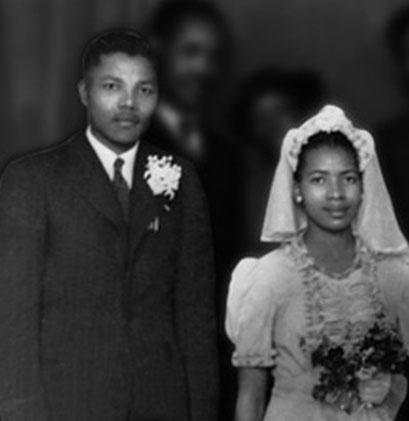 Mandela em com sua esposa Evelyn - 1944