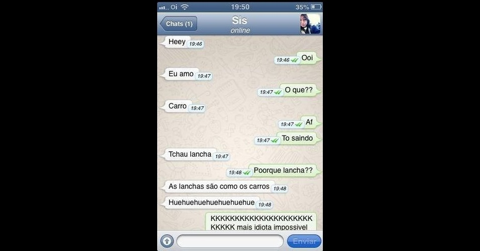 A página no Facebook 'Diálogos Whatsapp' reúne conversas engraçadas, românticas e marcantes que acontecem no aplicativo de conversação WhatsApp