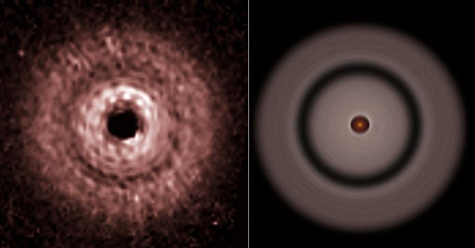 13.jun.2013 - Astrônomos encontraram fortes evidências de que um planeta está se formando a mais de 12 bilhões de quilômetros de sua estrela massiva e quente, a maior distância já registrada em um sistema planetário, segundo a Nasa (Agência Espacial Norte-Americana) - a Terra fica a exatos 149.597.870,7 quilômetros do Sol, calcula a União Astronômica Internacional. A descoberta foi feita após o grupo liderado por John Debes, da Universidade John Hopkins (EUA), identificar um buraco no disco de gás e poeira que circunda a anã vermelha TW Hydrae, que fica na constelação da Hydra, a 176 anos-luz da Terra. Essa faixa, que tem 3,05 bilhões de quilômetros de diâmetro, pode ser explicada pela presença de um planeta não visto, mas em crescente formação, que suga material protoplanetário desse disco de 65 bilhões de quilômetros de diâmetro. Acima, as observações feitas com o telescópio Hubble (à esquerda) em 2005 e a concepção artística (à direita) da descoberta