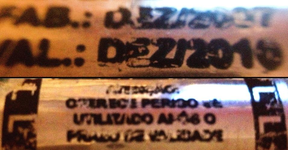 14.jun.2013 - Bomba de gás utilizada pela PM na repressão à manifestação desta quinta-feira (13) em São Paulo está vencida e oferece perigo. No cilindro, lê-se a mensagem: