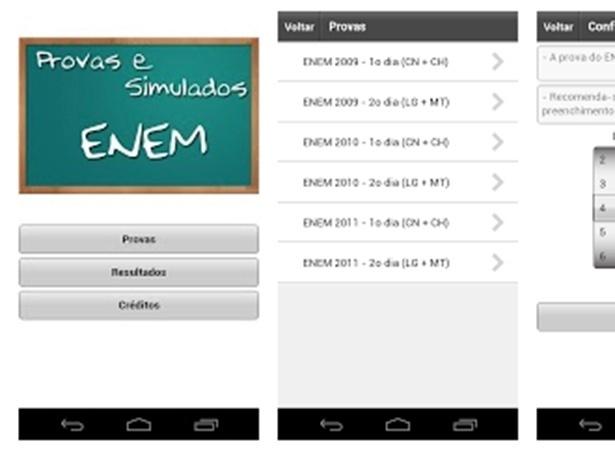 Provas e Simulados: Simulados direcionados ao Enem com questões que caíram em exames anteriores. Ao final do teste, o aplicativo para Android mostra um gráfico de desempenho que funciona como um relatório de rendimento ao longo de cada teste realizado