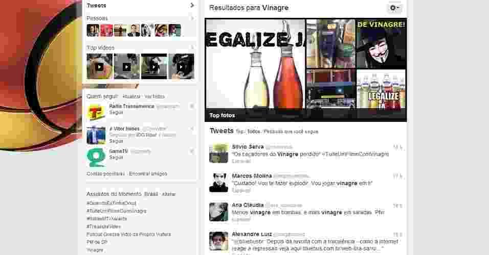 Vinagre. No Twitter, usuários da rede social fazem menção ao termo vinagre para destacar mensagens sobre as manifestações contra o aumento do transporte público na cidade de São Paulo. Durante os protestos, a polícia prendeu pessoas que portavam vinagre - Reprodução