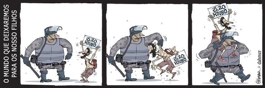 17.jun.2013 - Cartunista Gilmar representa manifestante e policial do mesmo lado em sua charge sobre os protestos contra o aumento da tarifa do transporte público.