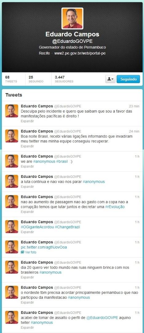 17.jun.2013 - O perfil do Twitter do governador de Pernambuco, Eduardo Campos (PSB), foi hackeado pelo grupo Anonymous Brasil, que usou o espaço para defender as manifestações pelo país e pedir a redução do preso das passagens de ônibus