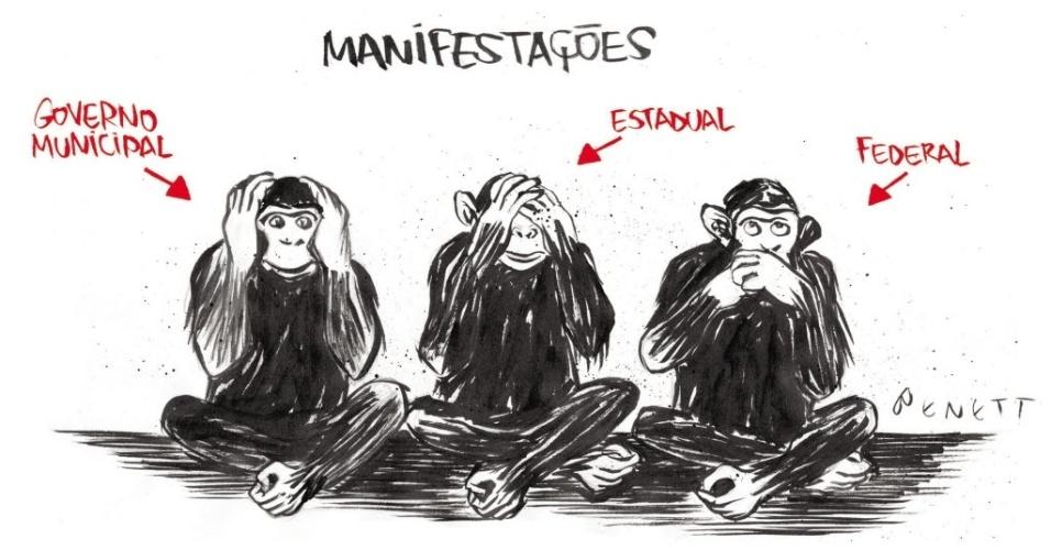 18.jun.2013 - Charge do cartunista Benett sobre as manifestações contra o aumento da tarifa do transporte público.