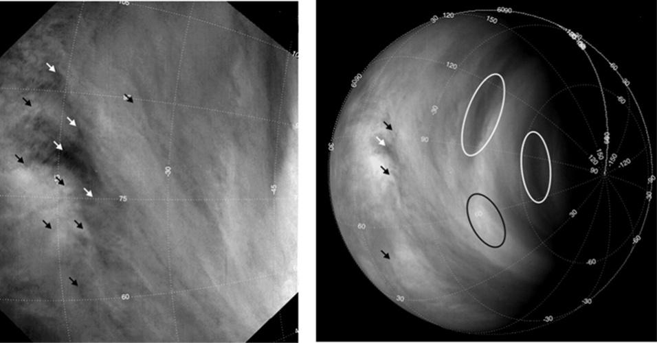 """18.jun.2013 - O mapeamento do movimento de nuvens em Vênus mostra que os ventos na sua atmosfera estão cada vez mais rápidos. O planeta é conhecido por ter uma atmosfera em super-rotação, cuja circulação das massas de ar completa uma volta em torno do planeta a cada quatro dias terrestres - em contraste, o dia de Vênus é """"muito longo"""", já que o planeta demora 243 dias terrestres para dar a volta em si mesmo. A velocidade do deslocamento das nuvens subiu de 300 quilômetros por hora em 2006, quando começaram as medições da sonda Venus Express, para 400 quilômetros por hora ao longo dos seis últimos anos terrestres da missão da Agência Espacial Europeia (ESA, na sigla em inglês). """"Essa grande variação nunca foi observada em Vênus antes, e nós ainda não entendemos por que isso ocorreu"""", justifica Igor Khatuntsev, do Instituto de Pesquisas Espaciais de Moscou, na Rússia. Acima, setas e círculos indicam o movimento das nuvens no planeta feitas pela Venus Express em 2008"""
