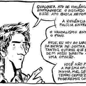 18.jun.2013 - O quadrinista Fábio Moon também criou uma tira que fala sobre as manifestações contra o aumento da tarifa do transporte público. - Reprodução/10paezinhos