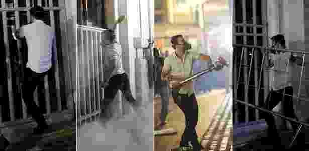 Homem quebra vidros da sede da Prefeitura de São Paulo usando cerca de proteção durante protestos - Gabriela Biló e Marcos Bizzotto/Futura Press