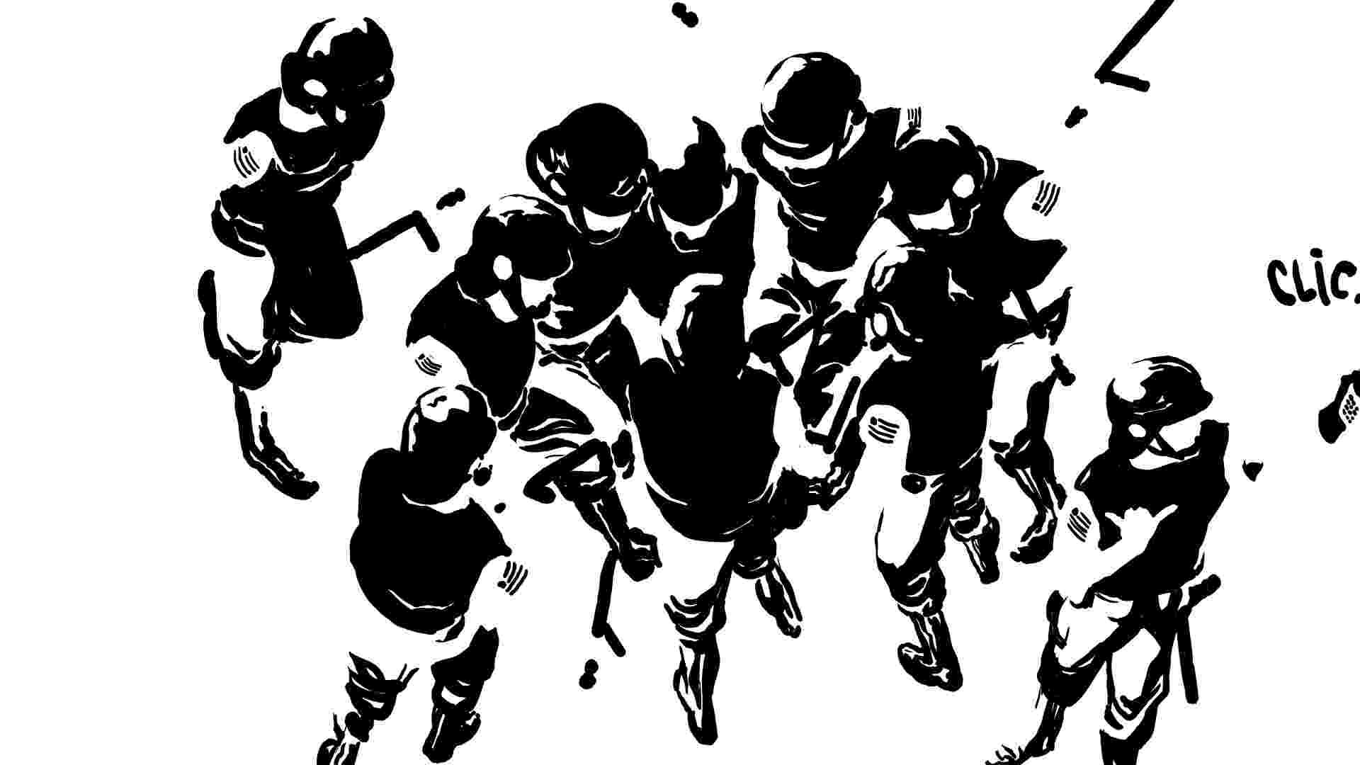 19.jun.2013 - Policiais da tropa de choque aparecem na charge de Rafael Coutinho sobre os protestos contra o aumento da tarifa do transporte público. De acordo o chargista, este trabalho vai integrar uma publicação especial organizada por quadrinista de todo o Brasil para arrecadar dinheiro para o movimento Passe Livre - Reprodução/raffa-bingo