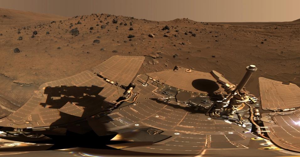 19.jun.2013- Ao analisar rochas da superfície de Marte capturadas pelo robô Spirit e compará-las a meteoritos marcianos, pesquisadores descobriram que as rochas são cinco vezes mais ricas em níquel do que os meteoritos. O que poderia explicar isso é que as rochas estavam em um ambiente rico em oxigênio há 4 bilhões de anos