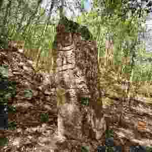 """20.jun.2013 - Batizada de Chactún, """"Piedra Roja"""" (Pedra Vermelha) ou """"Piedra Grande"""" (Pedra Grande), a cidade Maia encontrada ao norte da Reserva da Biosfera de Calakmul, na península de Yucatán, no México, teve seu esplendor entre 600 e 900 D.C. Na imagem, a estela 1, no complexo oeste. Estelas são pedras verticais  monolíticas que recebem inscrições ou esculturas - Mauricio Marat/INAH"""