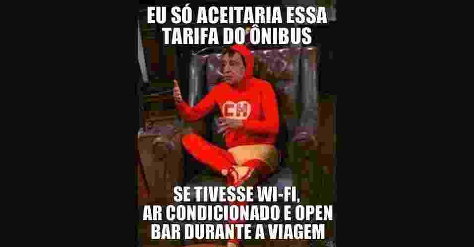 Durante os protestos que tomaram as ruas de todo o Brasil, as manifestações ganharam versões bem-humoradas na internet. Diversas páginas e usuários em redes sociais pegaram carona em temas que ganharam popularidade recentemente - como o uso de vinagre e a ação policial - para fazer piadas como esta acima - Chapolim Sincero/Facebook