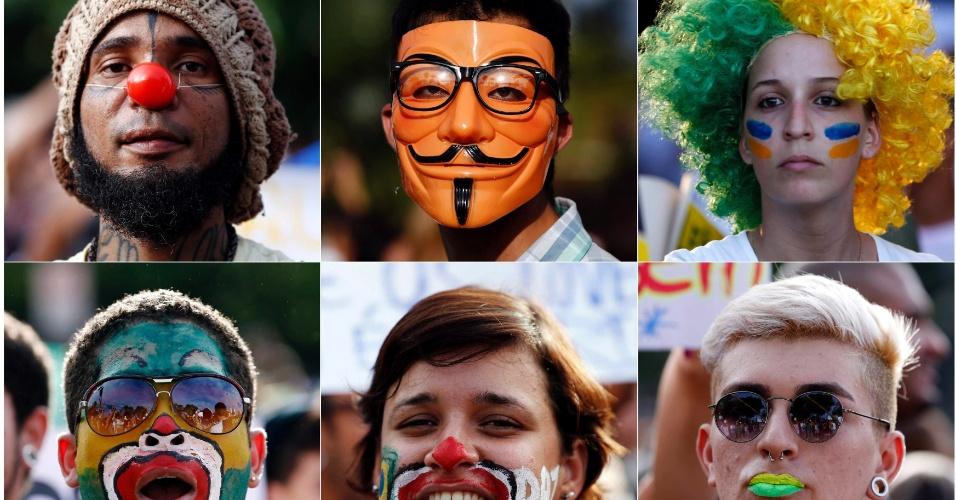 20.jun.2013 - Montagem com máscaras e pinturas de manifestantes do Recife. O protesto reuniu milhares de pessoas nesta quinta-feira (20)