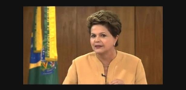 A presidente Dilma Rousseff fez um pronunciamento oficial em cadeia nacional