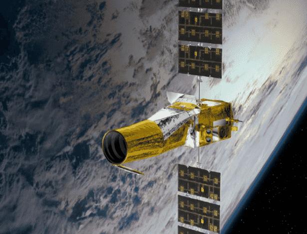 24.jun.2013 - A Agência Espacial Francesa anunciou nesta segunda-feira (24) que seus engenheiros não conseguirão recuperar a sonda CoRot, que parou de se comunicar com a Terra desde novembro de 2012. O equipamento foi lançado ao espaço em 2006 para detectar novas 'Terras' fora do Sistema Solar, ou seja, planetas feitos de rocha com água em estado líquido e temperatura moderada para abrigar a vida como conhecemos - CNES/Ill. D. Ducros.