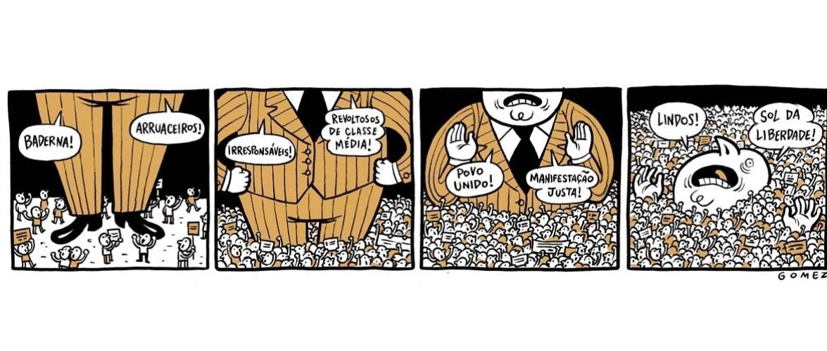 24.jun.2013 - O cartunista Gomez ironiza a mudança da forma como os manifestantes foram julgados por setores da sociedade no decorrer dos protestos