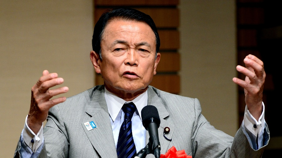 O ministro de Finanças, Taro Aso, fez declarações nesta sexta-feira (19) - Toru Yamanaka/AFP