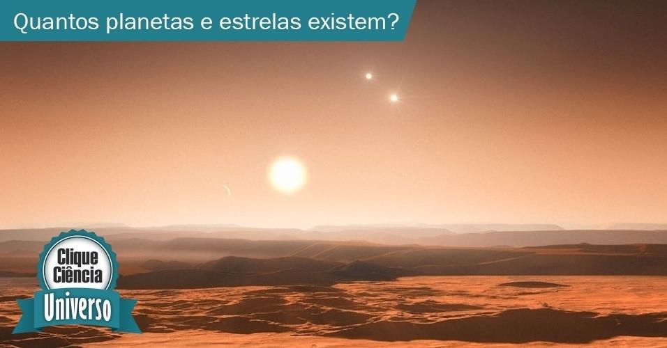 2.jul.2013- Segundo estudos de astrofísicos da universidade norte-americana Harvard, existem pelo menos 17 bilhões de planetas parecidos com a Terra apenas na Via Láctea. Se ampliarmos a pesquisa para qualquer tipo de planeta (como os parecidos com os gasosos do Sistema Solar), os astrônomos calculam cerca de 100 bilhões de planetas. Já o número mais aceito de estrelas no Universo é da ordem de 70 sextilhões (10^22). E as estimativas indicam que há cerca de 100 bilhões (10^11) de galáxias