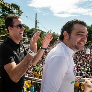 Os deputados federais Anderson Ferreira (esquerda) e Marco Feliciano na 21ª edição da Marcha Para Jesus, no último dia 29