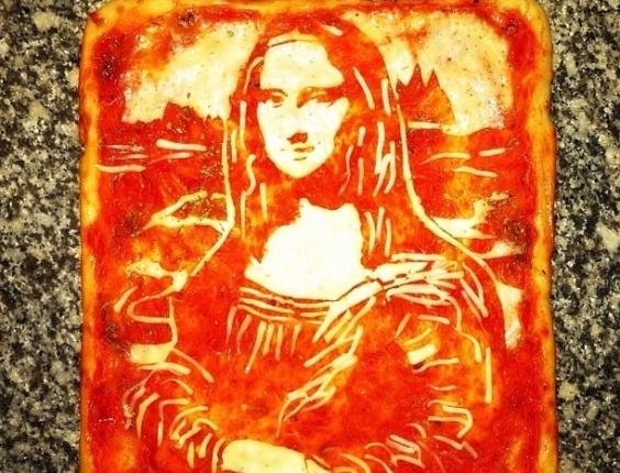 3.jul.2013 - Pizza com imagem da pintura Mona Lisa feita por Domenico Crolla, em Glasgow, Escócia