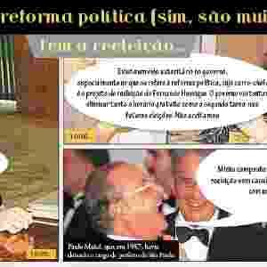 A reeleição é outro tema da reforma política. Ainda no primeiro ano de gestão como vice-presidente de FHC, Marco Maciel (PFL-PE) afirmou que a Constituição não previa a reeleição. Já Paulo Maluf, ex-prefeito de São Paulo, se mostrou favorável à reforma feita de forma ampla - Arte/UOL