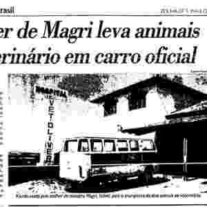 """4.jul.2013 - Em maio de 1991, uma kombi com chapa branca levou dois cachorros de Rogério Magri, então ministro do Trabalho e da Previdência Social, para o veterinário, como mostra denúncia do jornal Folha de S.Paulo à época (à direita). O ministro de Fernando Collor disse que sua cadela Orca estava grávida e que precisava de cuidados, imortalizando a frase: """"cachorro também é ser humano"""" - Rogério Albuquerque/Folhapress e Acervo Folha"""