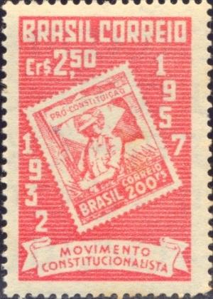 selo comemorativo de 25 anos da revolução constitucionalista de 1932