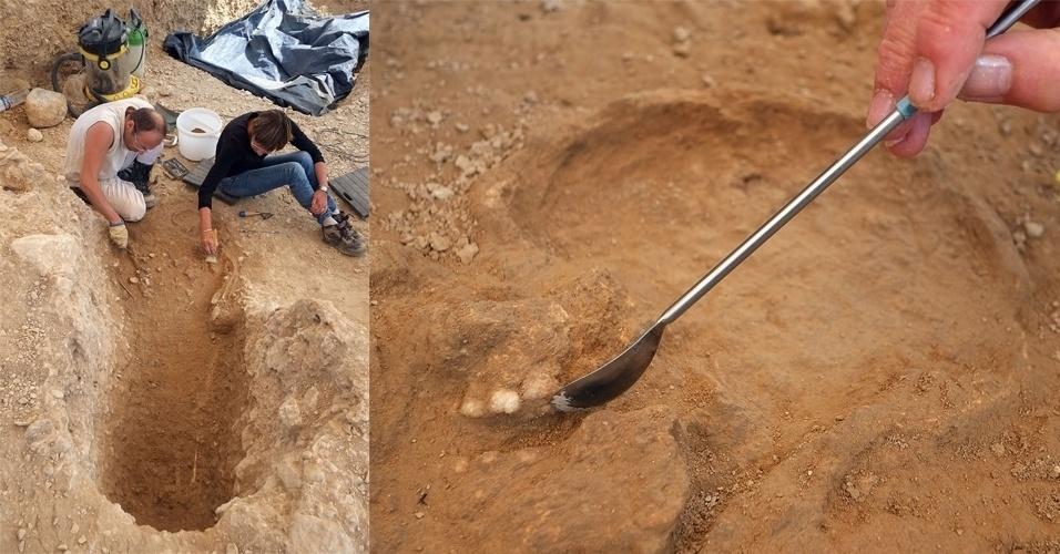 9.jul.2013- Arqueólogos encontram esqueleto em túmulo do paleolítico de 11 a 12 mil anos, em Cuges-les-Pins, próximo de Marselha, na França