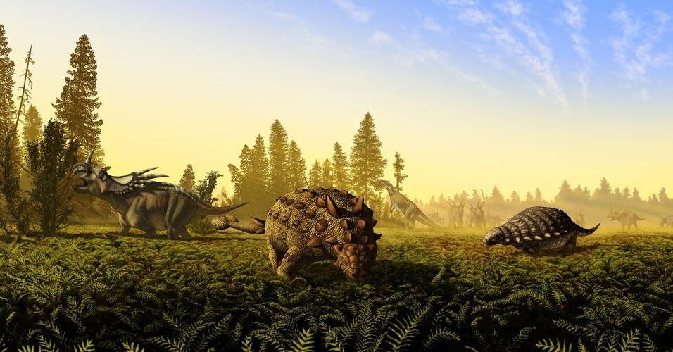 11.jul.2013 - A América do Norte abrigou oito espécies diferentes de dinossauros gigantes que pesavam mais de uma tonelada há cerca de 75 milhões de anos Dupla de cientistas da Universidade de Calgary, no Canadá, fez uma nova análise dos crânios e das mandíbulas de fósseis encontrados no parque de Alberta, no sul do país, e descobriu que as linhas principais desses dinossauros conseguiam viver na mesma porção de terra porque não competiam pela mesma comida. Acima, concepção artística do artigo da revista
