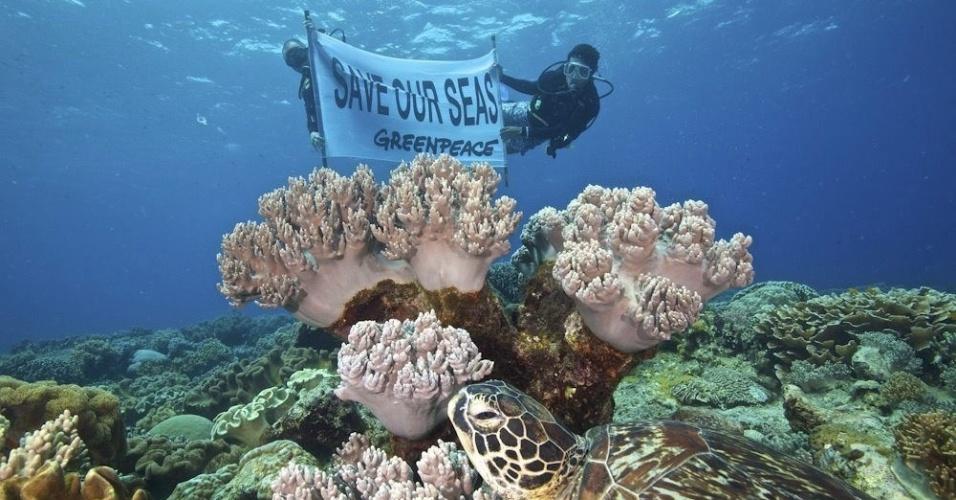 11.jul.2013 - Fotografia divulgada nesta quinta-feira (11) pelo Greenpeace mostra cientistas da Universidade de Silliman, nas Filipinas, mostrando cartaz que diz ?Salve nossos mares?, em mar da Ilha de Apo, na província de Negros Oriental, nas Filipinas