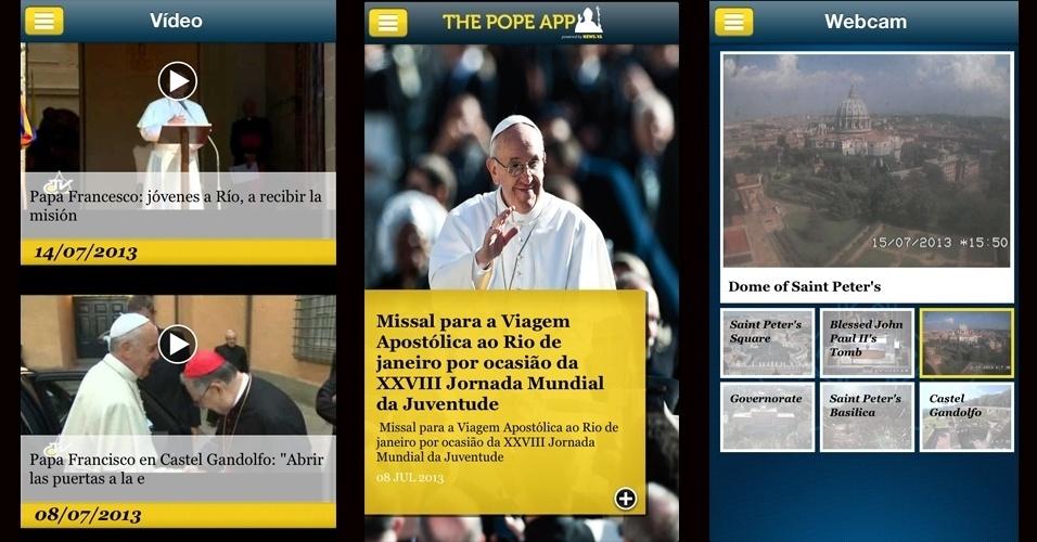 Quem quiser seguir os passos do papa Francisco pode contar com a ajuda do aplicativo oficial do vaticano, o The Pope App, disponível gratuitamente para iPhone, iPod e iPad, além de smartphones com Android