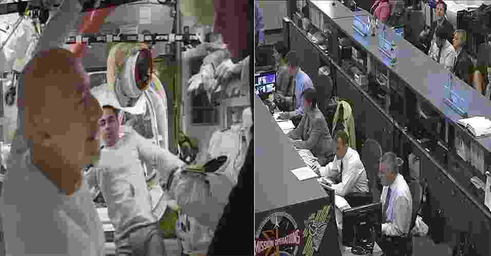 16.jul.2013 - A segunda caminhada espacial do mês da missão 36 da Estação Espacial Internacional (ISS, na sigla em inglês) terminou cinco horas mais cedo do que o planejado. O italiano Luca Parmitano, da Agência Espacial Europeia (ESA, na sigla em inglês), e o norte-americano Chris Cassidy, da Nasa (Agência Espacial Norte-Americana), ficaram apenas uma hora e 32 minutos fora da ISS, tempo suficiente para cada um terminar a instalação de cabos de energia para componentes essenciais da plataforma. O controle da missão nos Estados Unidos (à direita) decidiu abortar as outras tarefas da caminhada espacial depois que o astronauta Parmitano (na frente, à esquerda) percebeu que havia água flutuando por trás de sua cabeça dentro do capacete. Os engenheiros precisam ainda avaliar os danos para determinar a causa do vazamento, segundo a Nasa - Nasa TV