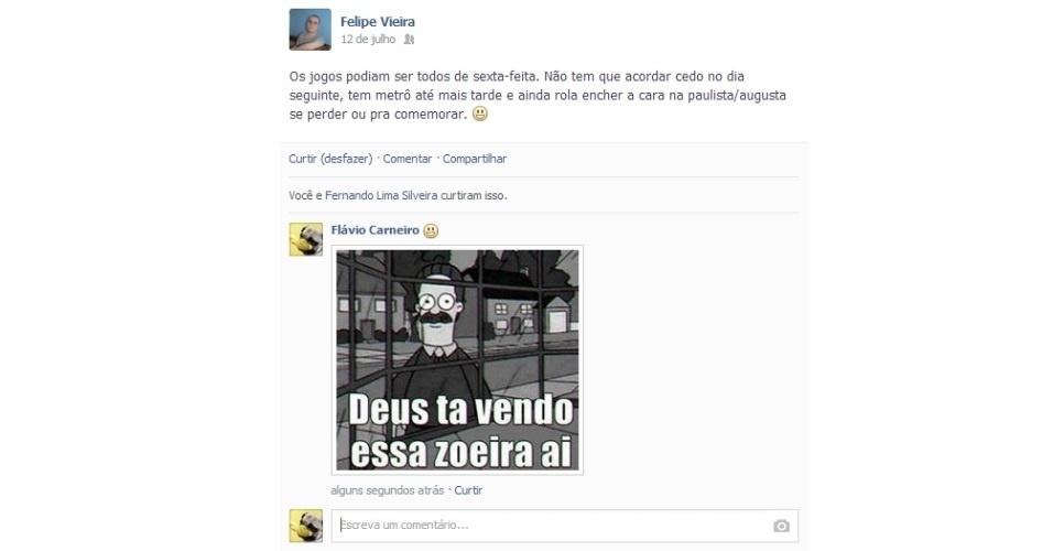 Depois que o Facebook ativou o recurso que permite comentar nos status dos amigos usando imagens, os usuários ganharam uma nova forma de interagir na rede social. Para utilizar essa ferramenta, os internautas criaram montagens com frases engraçadas, usando imagens de animais, do Faustão e até da presidente Dilma. Veja as brincadeiras e clique em 'Mais' para baixar as fotos e usá-las com seus amigos