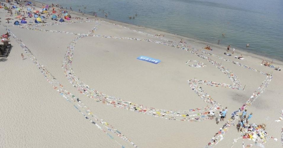 """17.jul.2013 - Cerca de 5.000 sacos de plástico formam a silhueta de um peixe, ao longo da costa da praia Niendorf, na Alemanha. O trabalho foi feito pelo aquário """"Sea Life"""", para alertar sobre o aumento de resíduos plásticos nos mares, alcançou o recorde do Guinness para a cadeia mais longa feita de sacos de plásticos"""