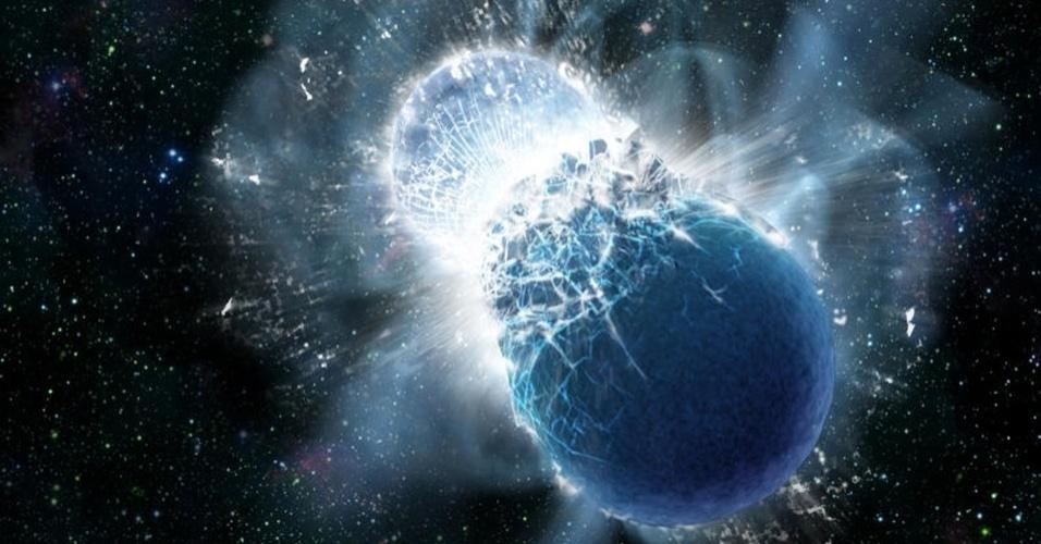 """17;jul;2013- A alquimia tenta há séculos criar ouro, mas agora cientistas do Centro de Astrofísica da Harvard-Smithsonian descobriram que o ouro existente na Terra deve ter vindo da colisão de estrelas de nêutrons. Ao observar uma explosão de raios gama de curta duração (GRB), no mês passado, que foi resultado da colisão de duas estrelas de nêutrons - os núcleos mortos de estrelas que explodiram como supernovas -, os astrônomos perceberam por dias um brilho intenso, que indica a criação de quantidades significativas de elementos pesados ??- incluindo ouro. """"Nós estimamos que a quantidade de ouro produzida e ejetada durante a colisão pode ser tão grande quanto a massa de dez Luas"""", disse o chefe do estudo, Edo Berger. O ouro é raro na Terra, em parte, porque também é raro no Universo. Ao contrário dos elementos como o carbono ou o ferro,  não pode ser criado por uma estrela"""